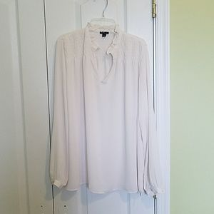 Ann Taylor white semi-sheer blouse